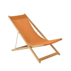 Beach Chair Sling Orange with teak frame