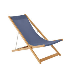 Beach Chair Sling Blue with teak frame