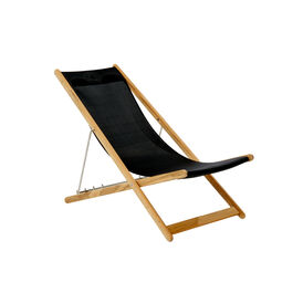 Beach Chair Sling Black with teak frame